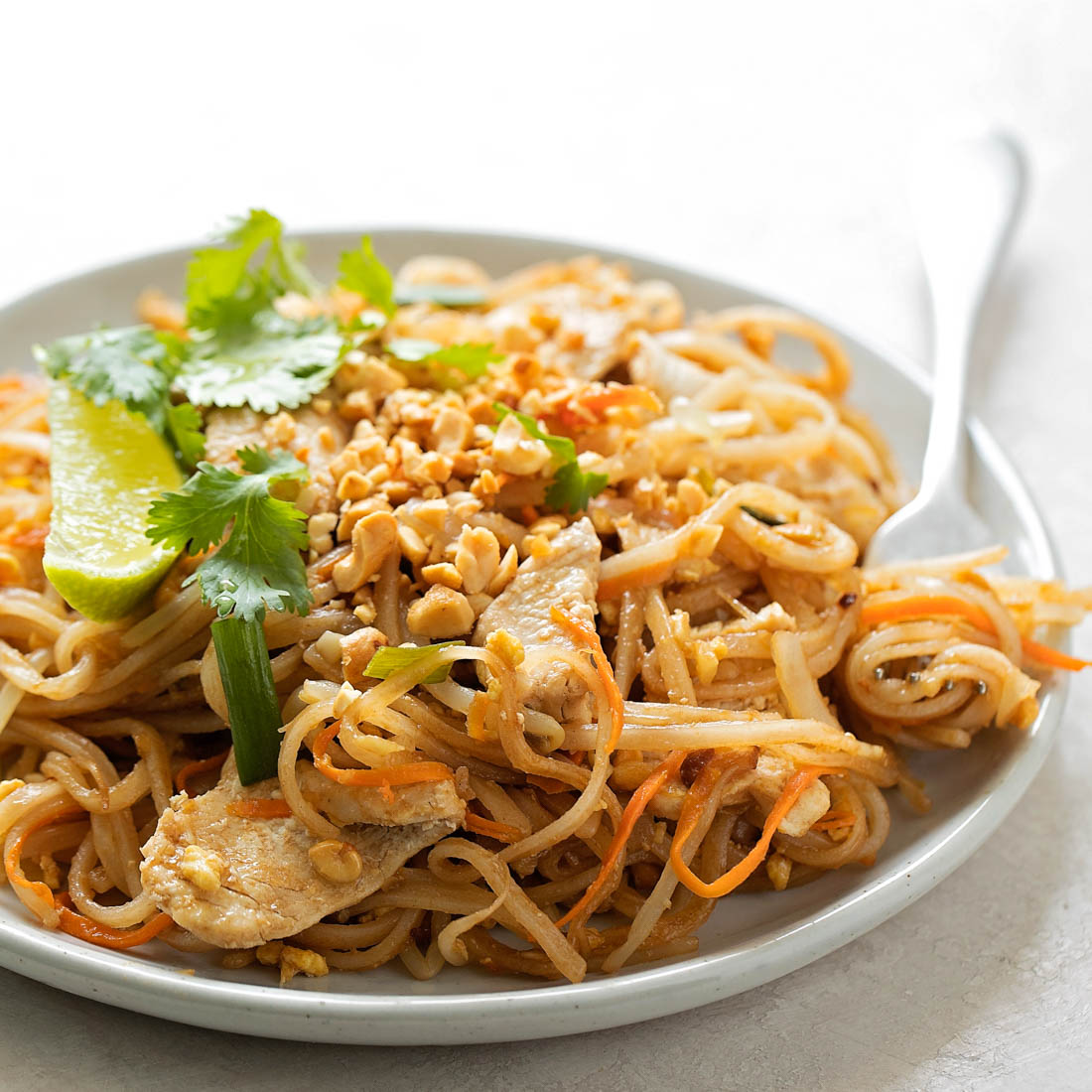 Pad Thai recipe on white plate