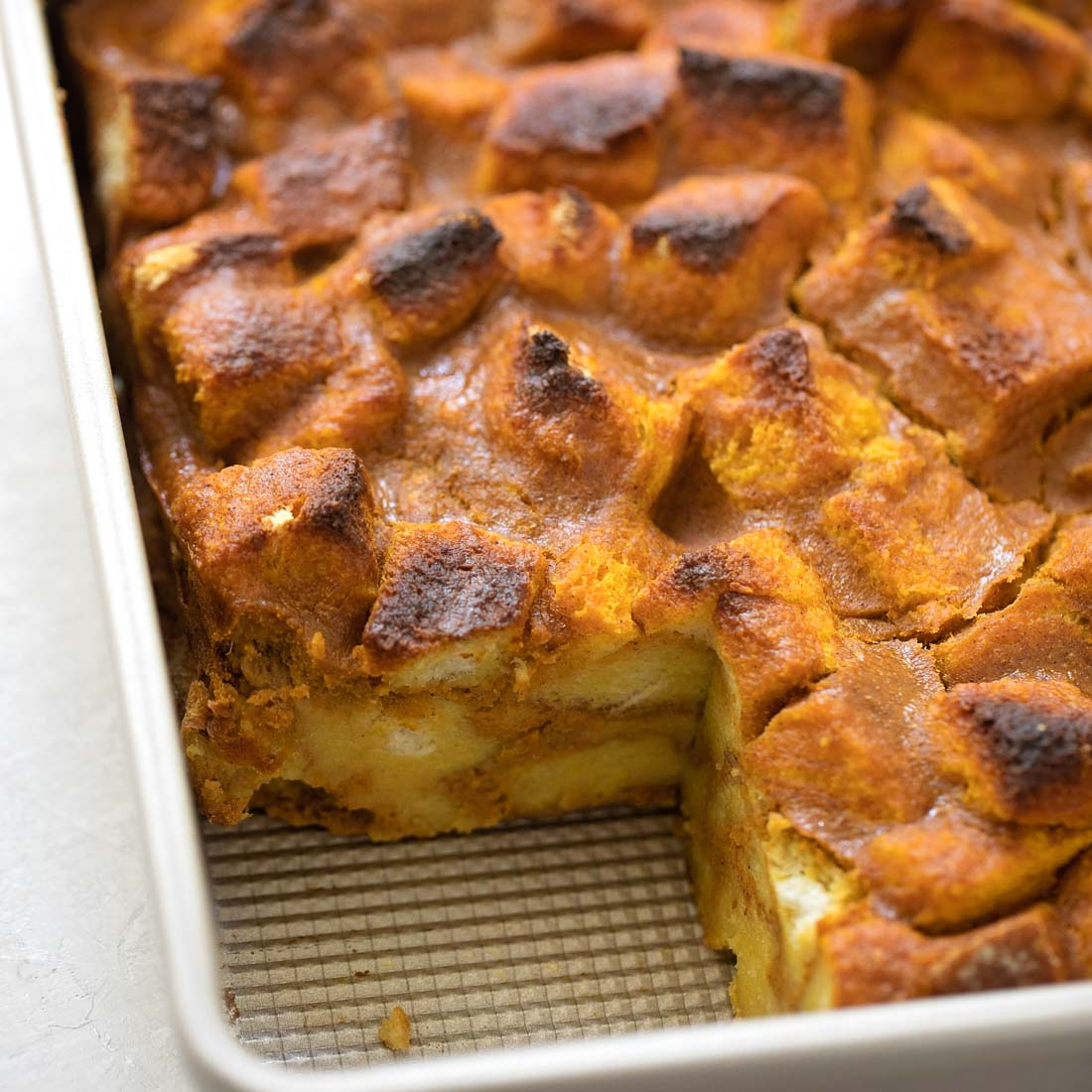 Pumpkin bread pudding baked in dish