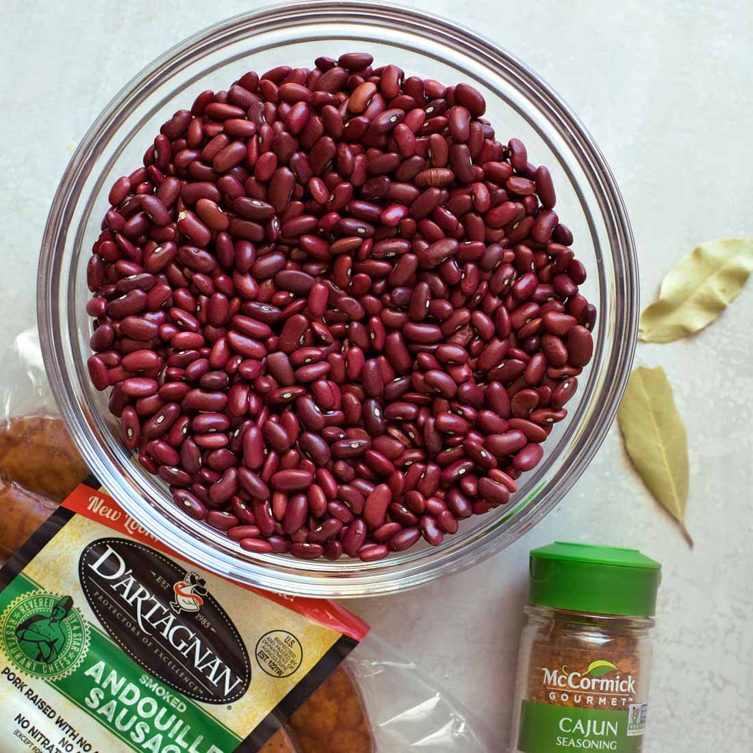 Dried red beans in glass bowl