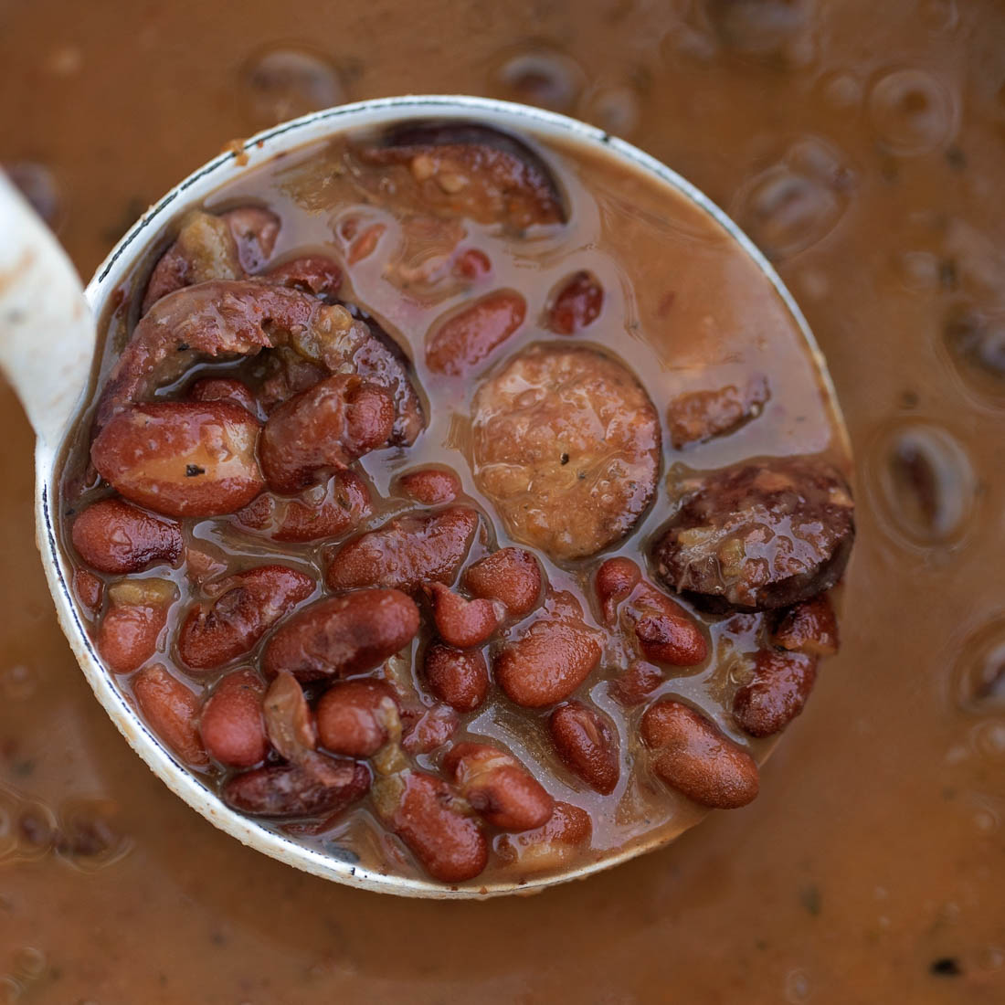 Red beans and sausage in pot