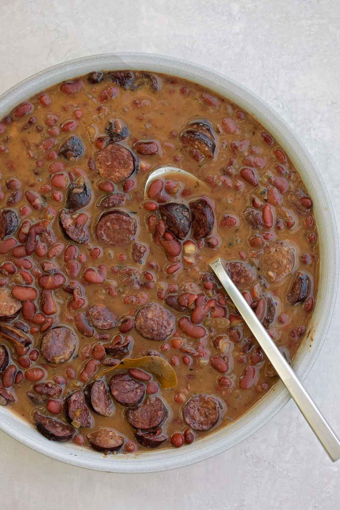 Red beans and rice with sausage in bowl