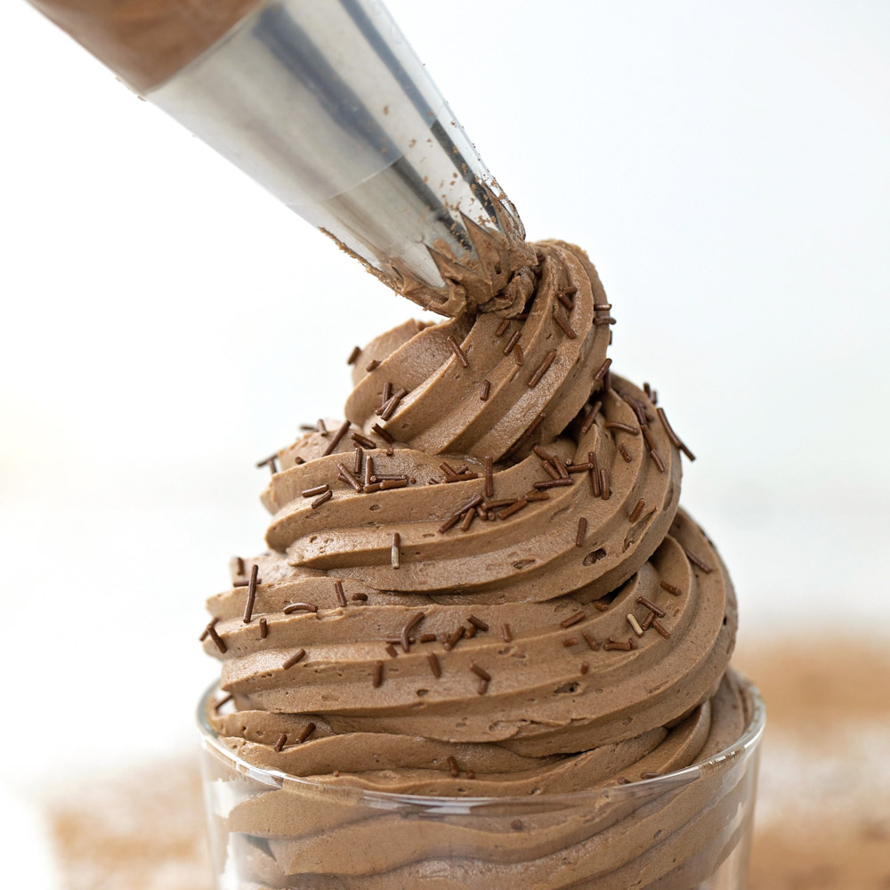Chocolate Buttercream Frosting recipe being piped