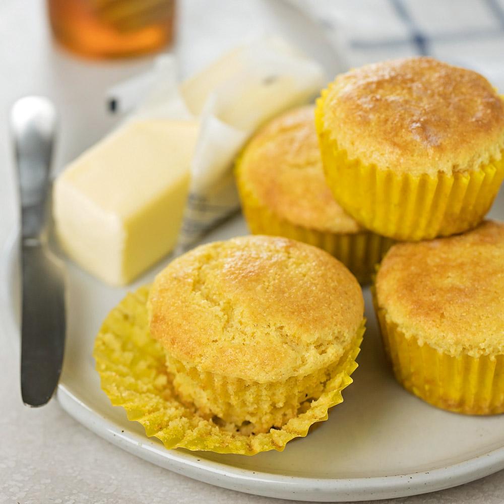 Cornbread muffins on plate