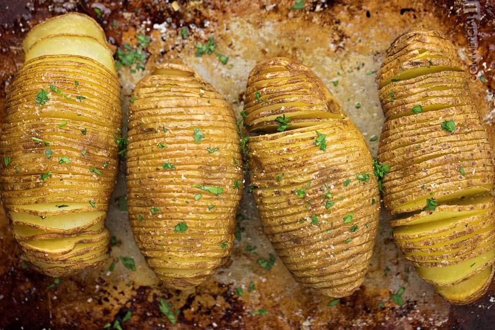 Hasselback potatoes on baking dish