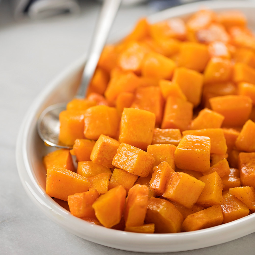 Roasted butternut squash close up in bowl