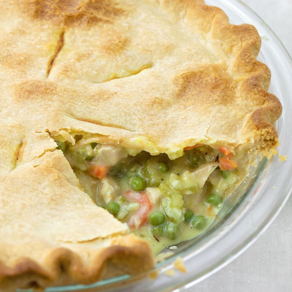 Turkey pot pie close up