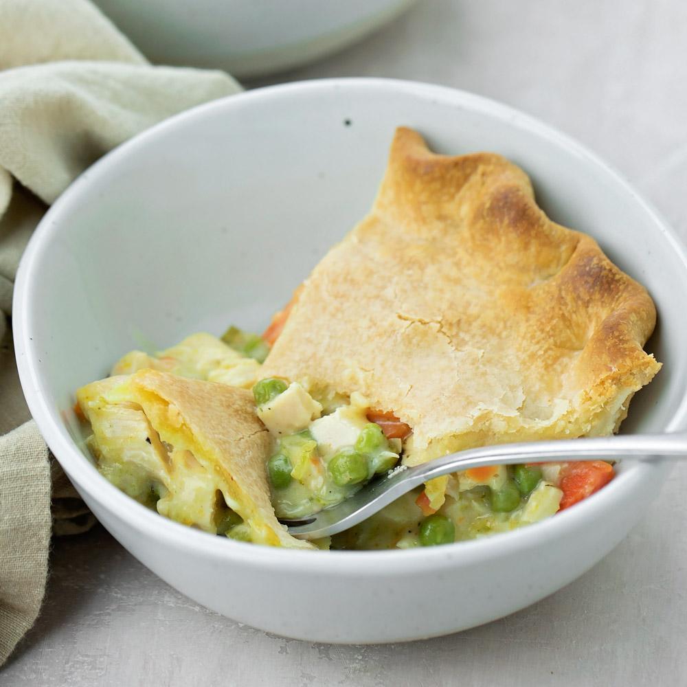 Turkey pot pie recipe in bowl