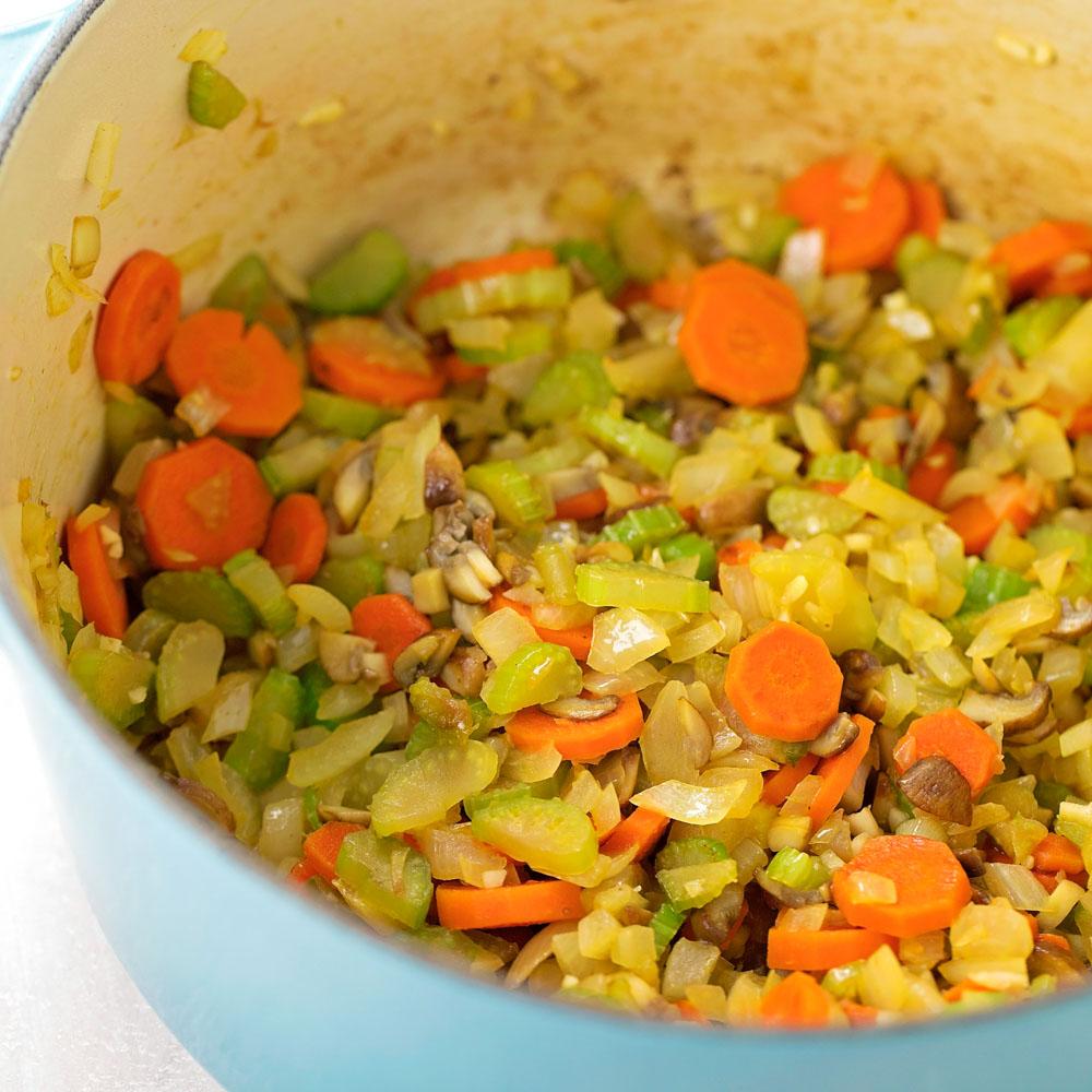 Veggies in stock pot for turkey soup