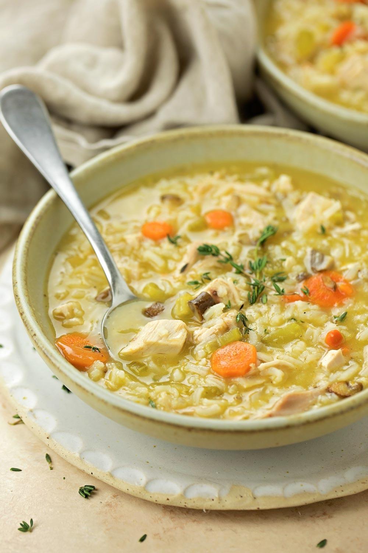 Turkey soup recipe in bowl