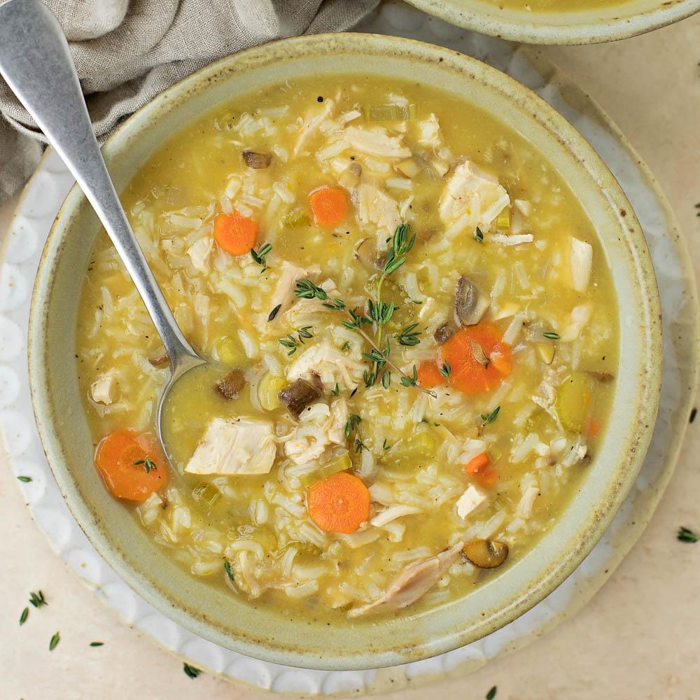 Turkey soup in bowl