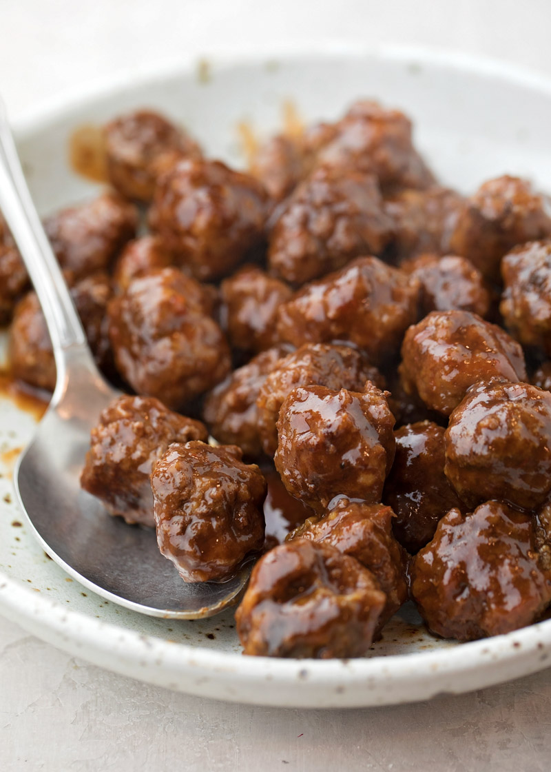 Grape jelly meatball recipe on plate