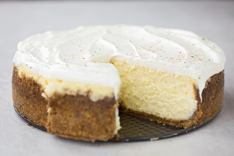 Eggnog cheesecake with slice cut out