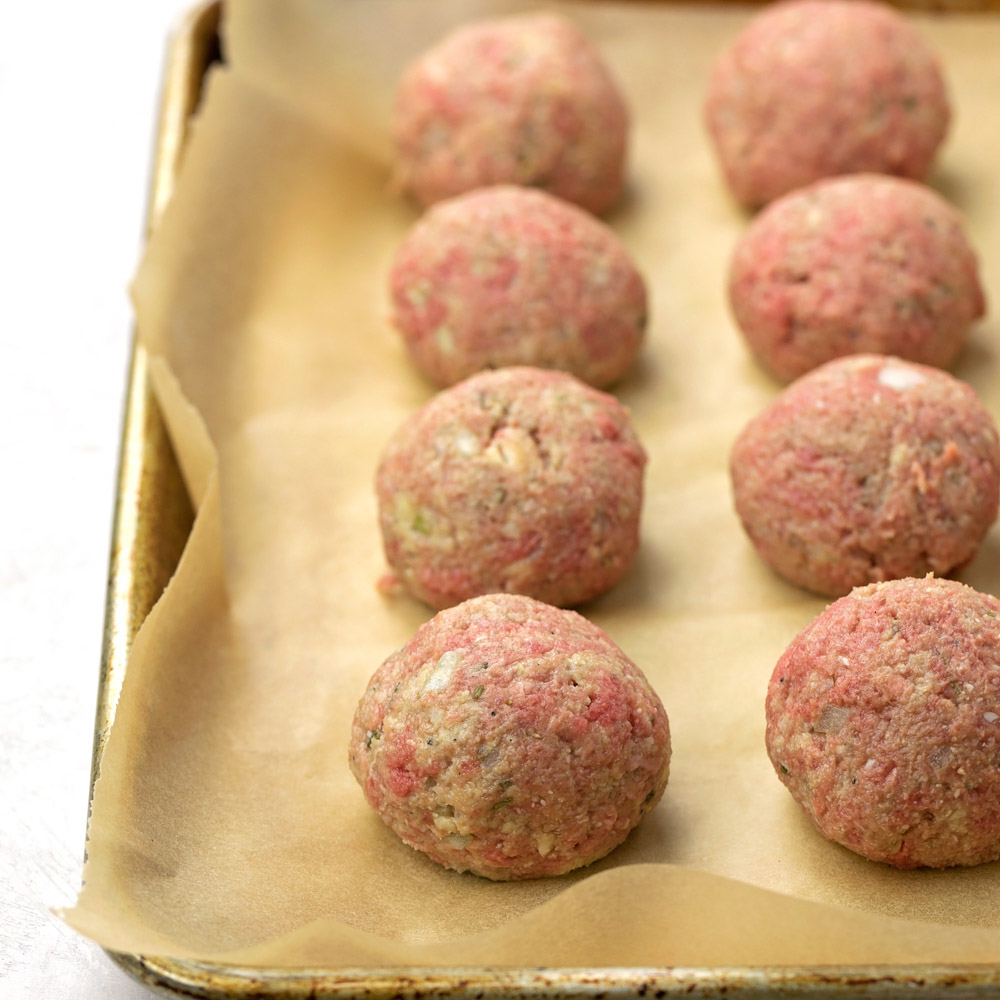 Instant pot meatballs on baking sheet