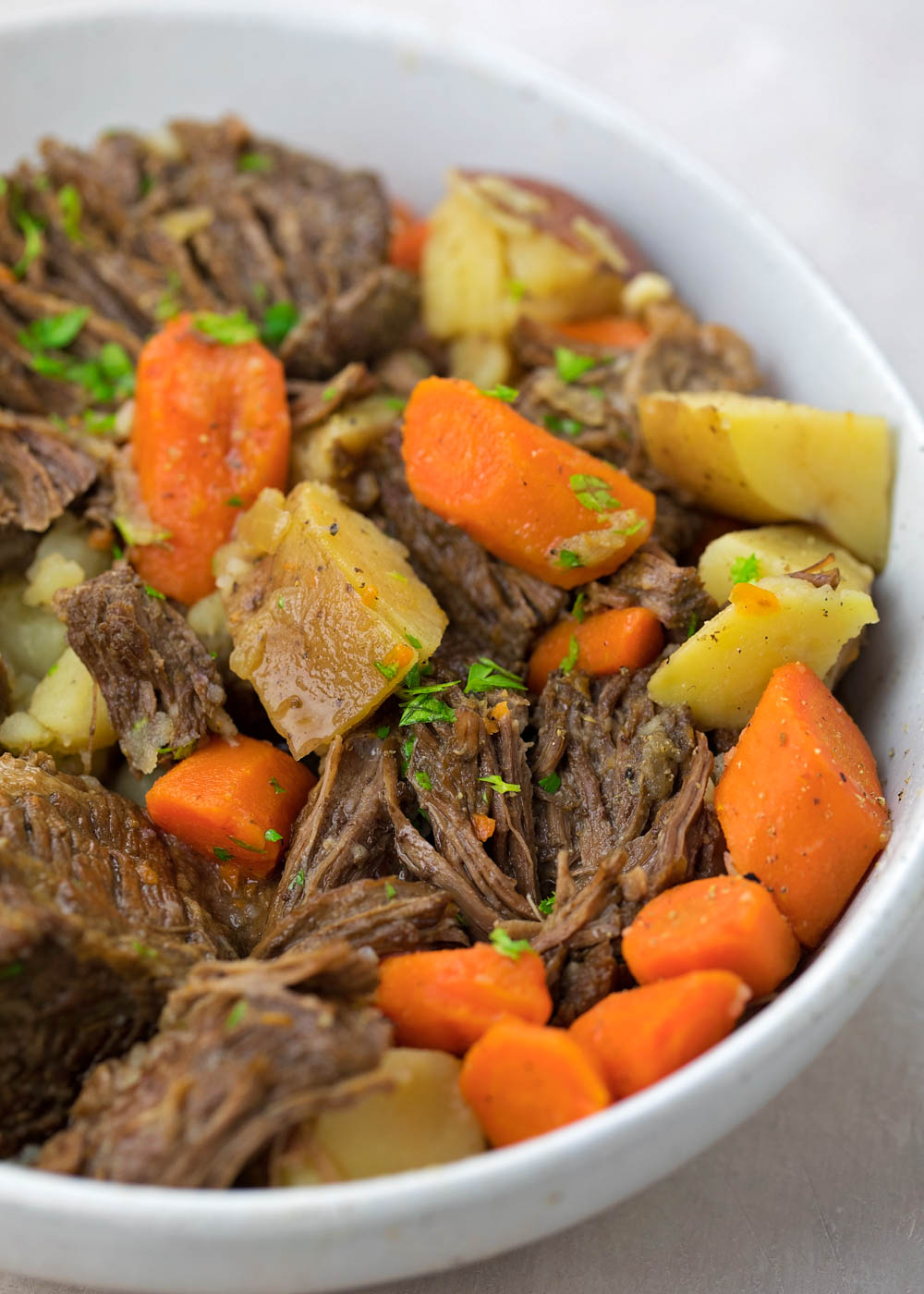 Instant Pot pot roast recipe in bowl