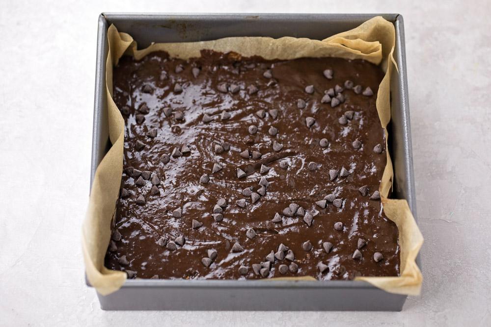 Black bean brownie batter in baking dish