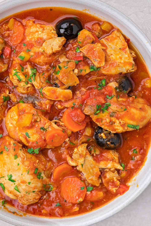 Close up image of Instant Pot Chicken Cacciatore recipe