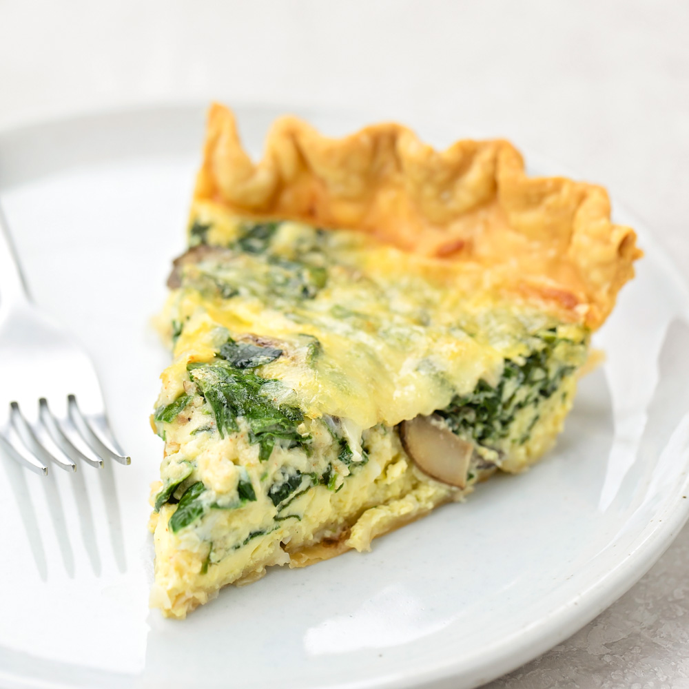 Spinach quiche on plate