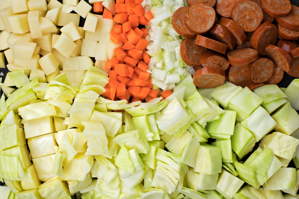 Chopped ingredients for cabbage soup recipe