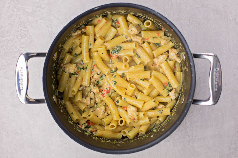 One pot cajun chicken pasta in a dutch oven