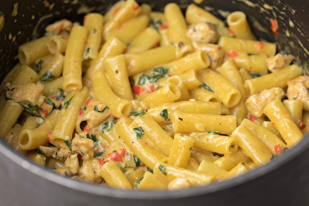 Close up of creamy cajun chicken pasta