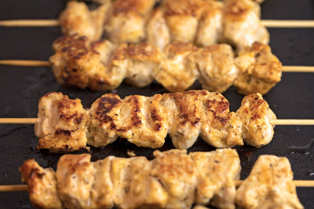 Grilled chicken skewers for gyros