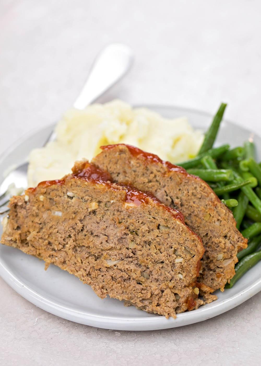Close up of Instant Pot Meatloaf Recipe