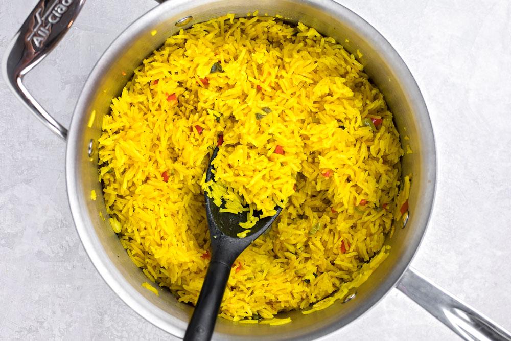 Yellow rice in pot
