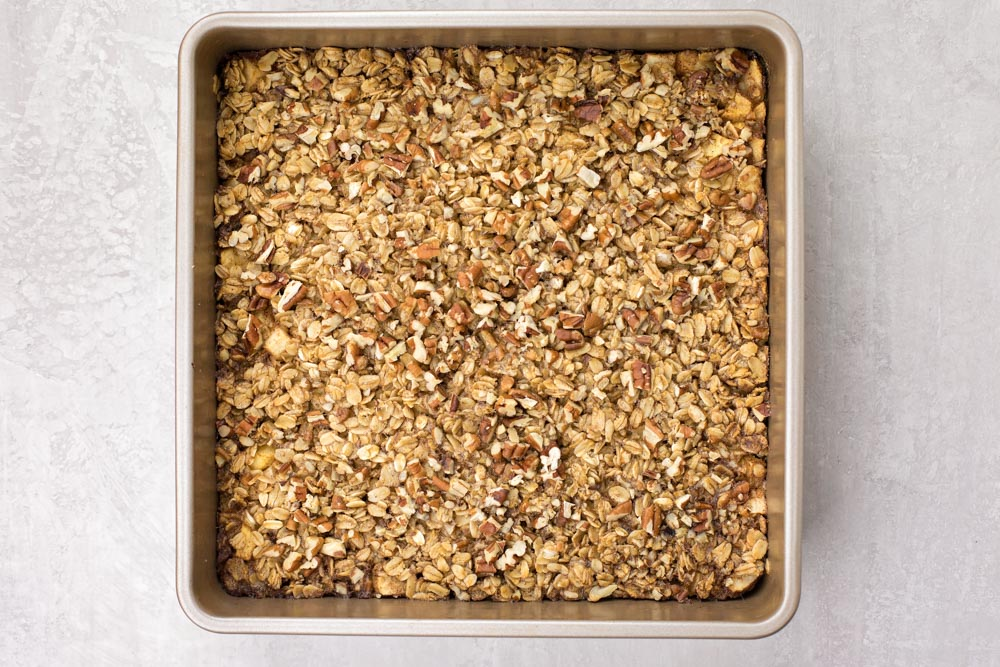 Healthy baked oatmeal in a baking pan