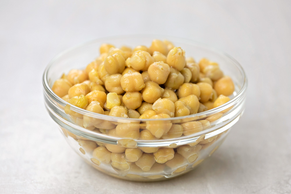 Chickpeas in a bowl for chickpea curry recipe