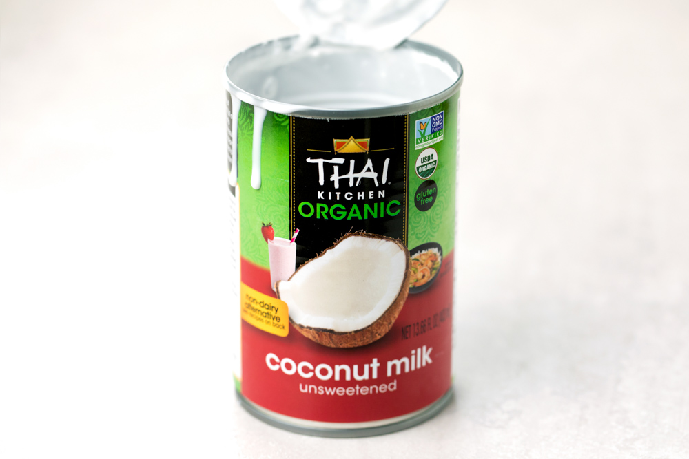 A can of coconut milk to use for coconut rice recipe