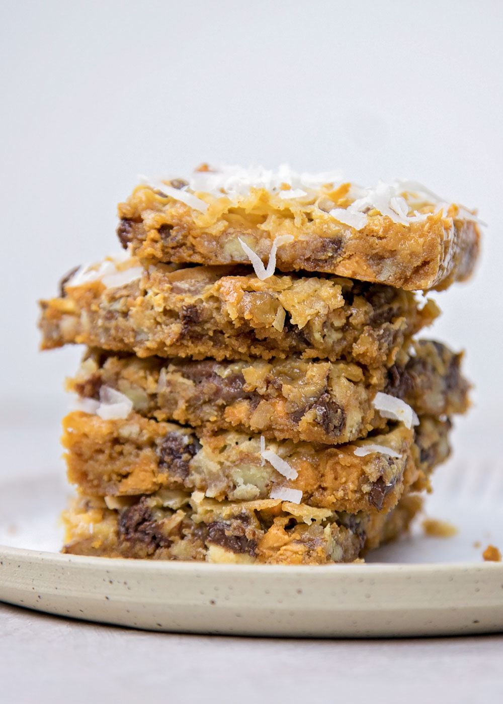 Close up of 7 layer cookie bars
