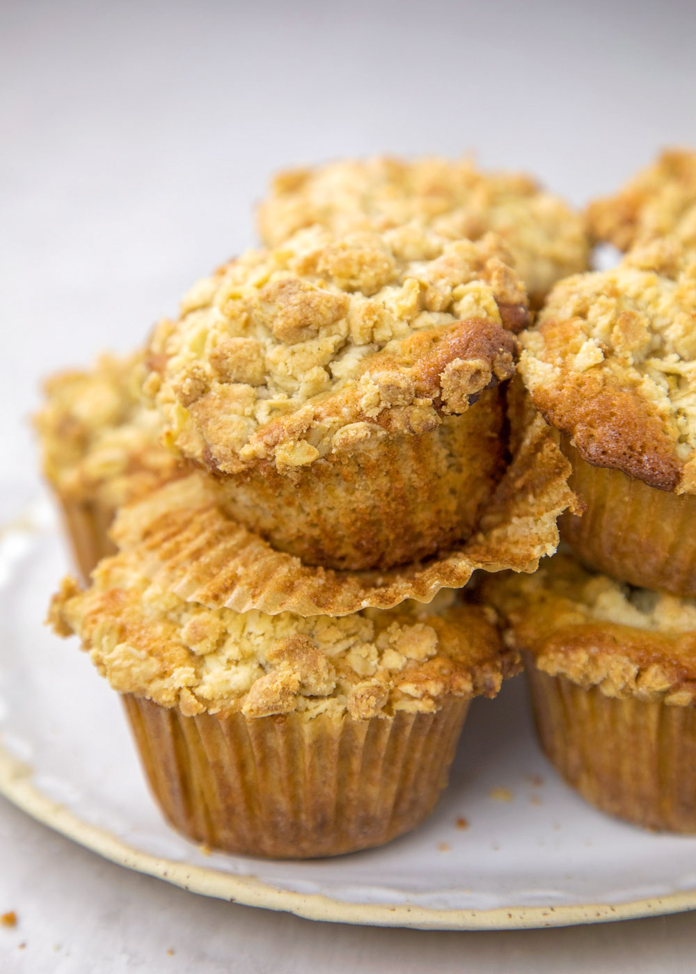 Closeup of oatmeal muffins on a white plate