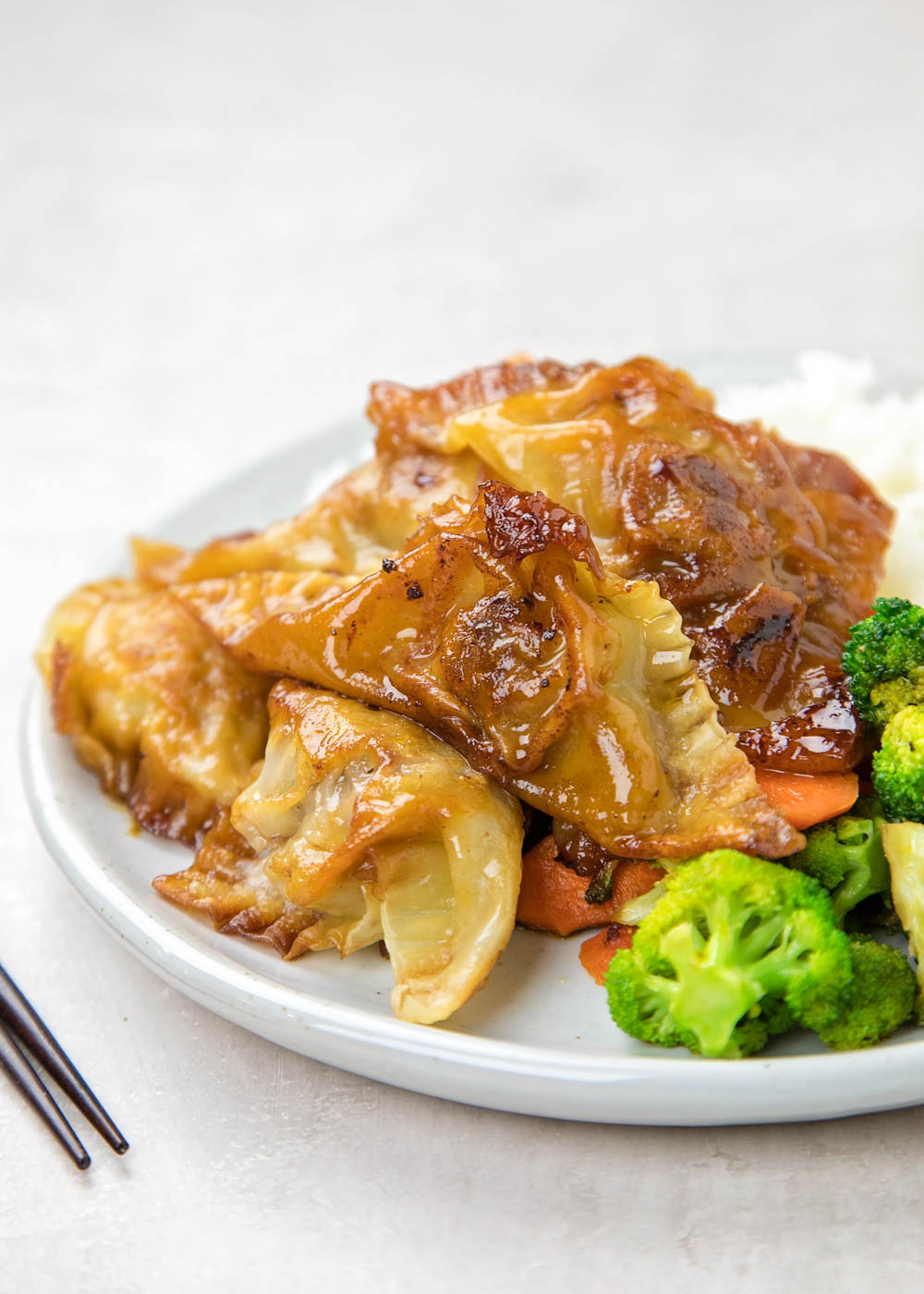 Potstickers on a plate with rice and vegetables