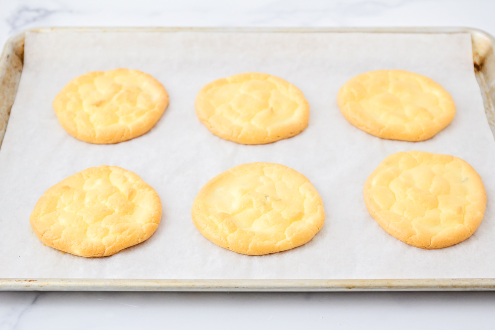 Baked cloud bread on a sheet pan