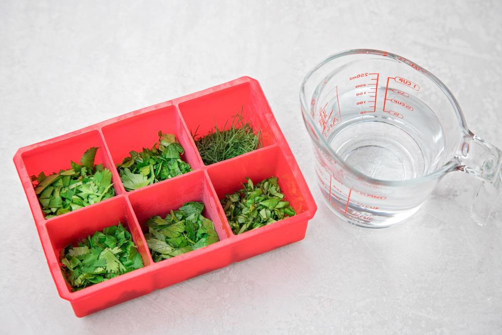 Cómo congelar hierbas frescas con agua y una bandeja de cubitos de hielo