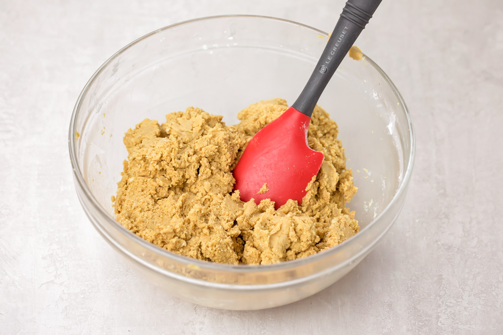 Mixture for peanut butter bars recipe in a bowl