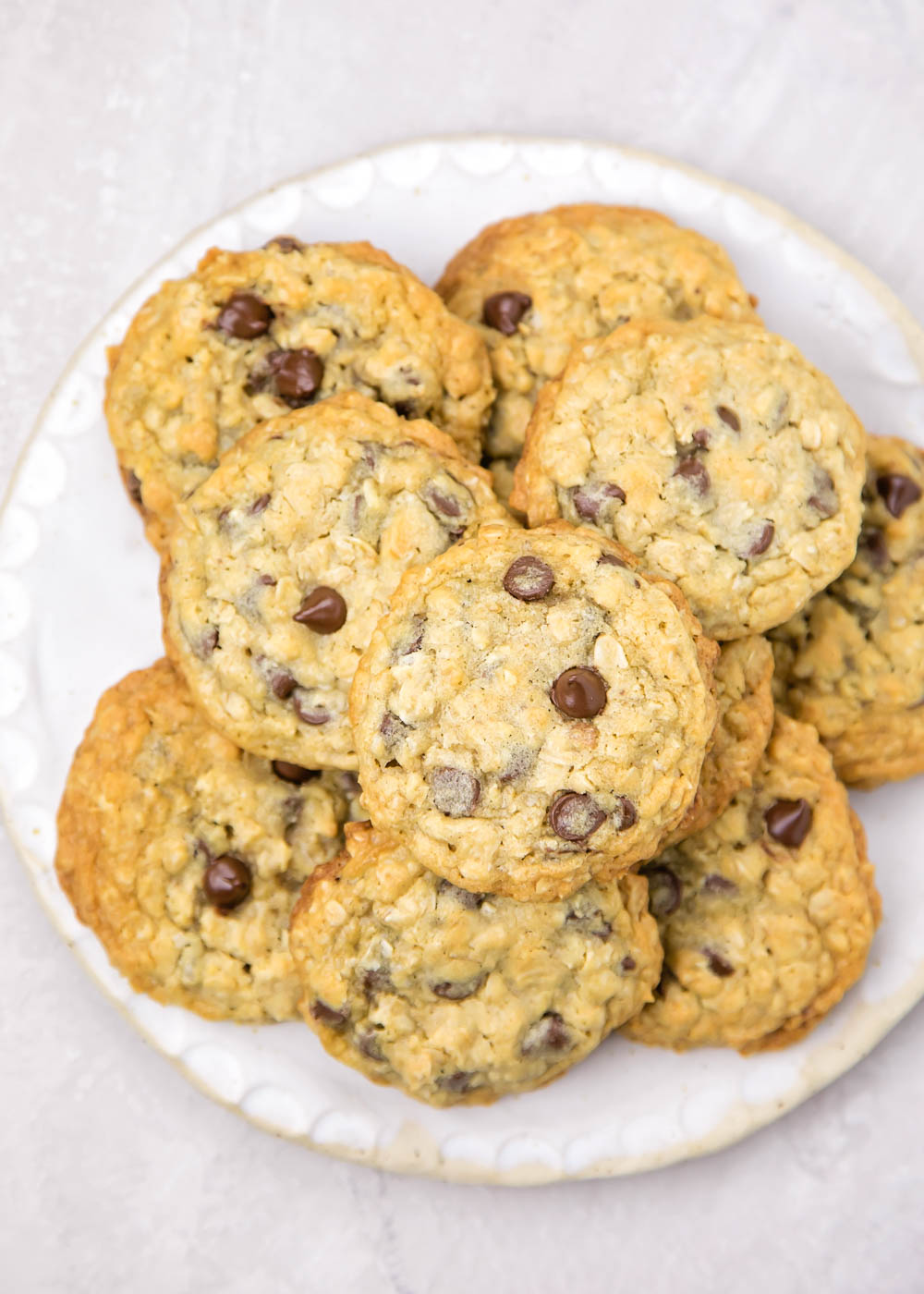 Oatmeal Chocolate Chip Cookie Recipe on a plate