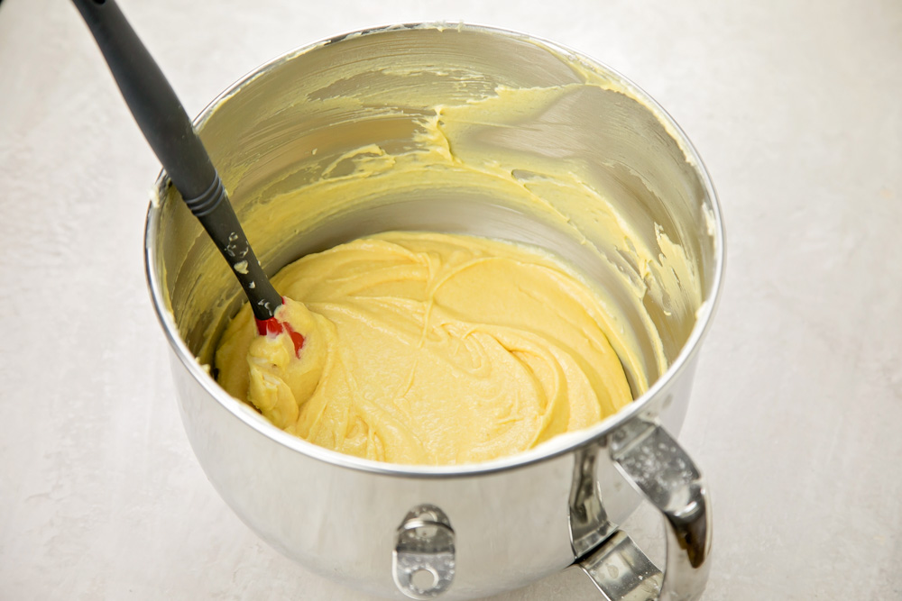 Yellow cake batter in a mixing bowl