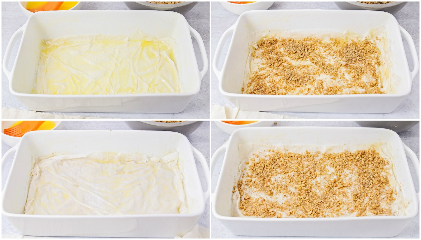 Step by step collage of how to make baklava