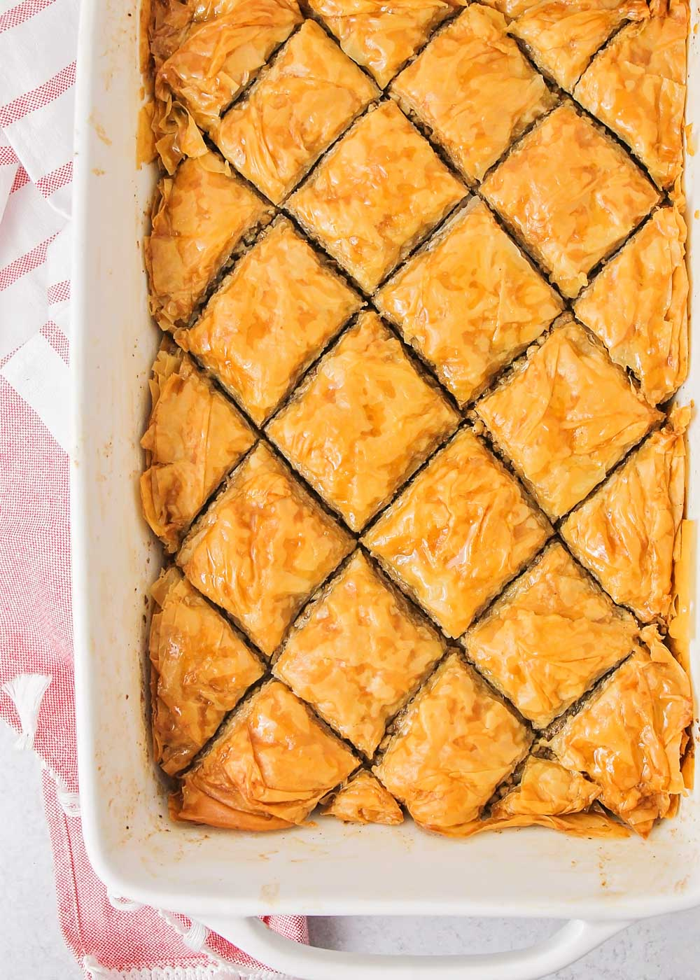 Baklava in a serving dish