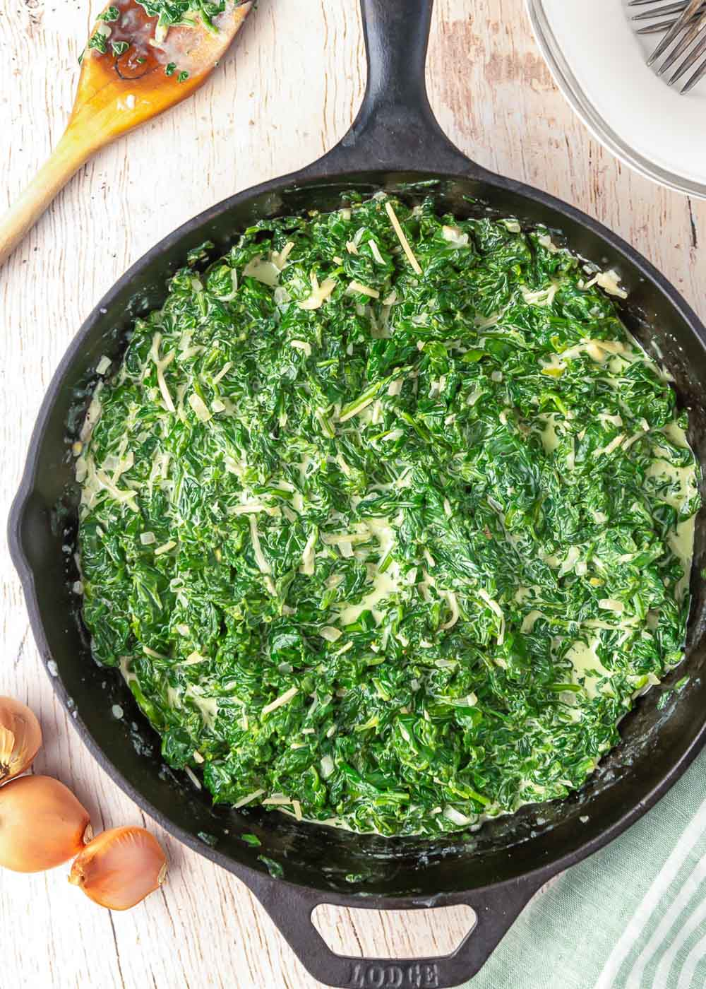 Creamed spinach recipe in a skillet