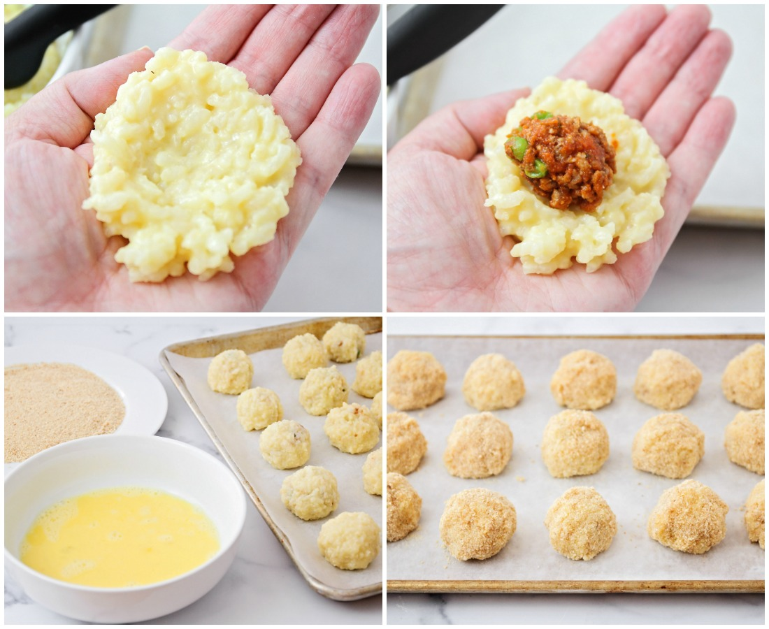 Step by step pictures of filling and rolling rice balls