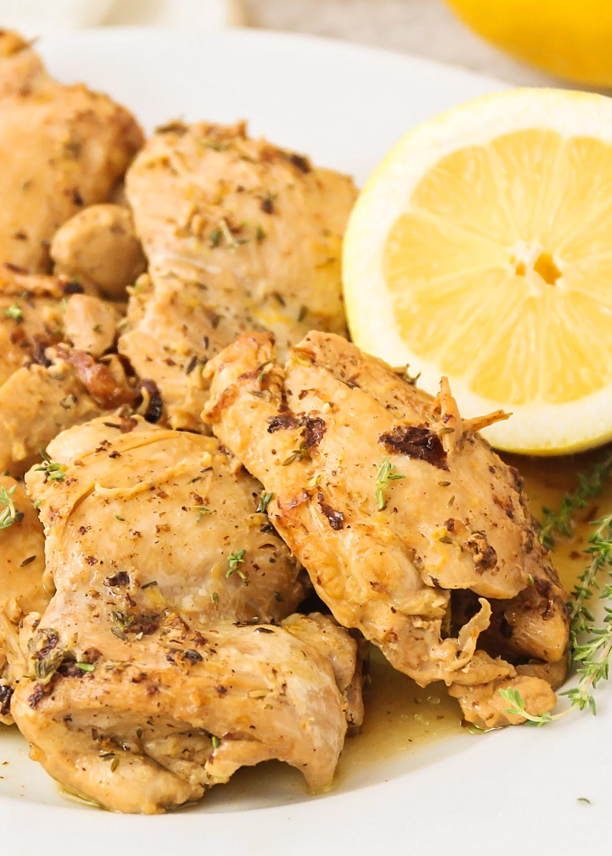 Lemon and thyme instant pot chicken thighs