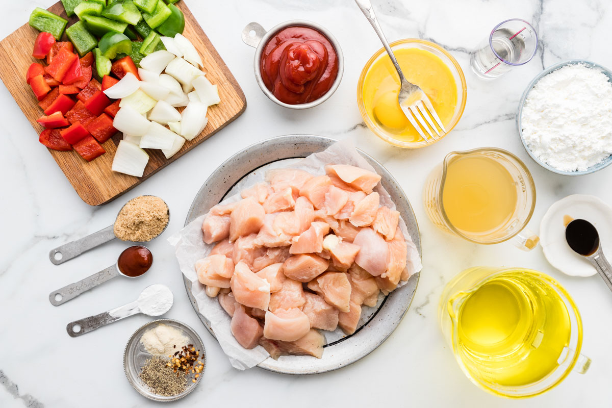 Ingredients for sweet and sour chicken recipe