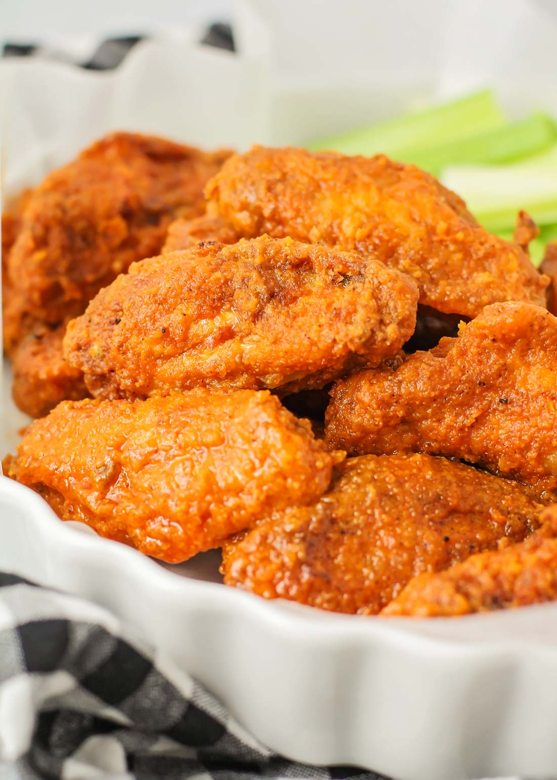 Homemade hot wings served with celery on the side
