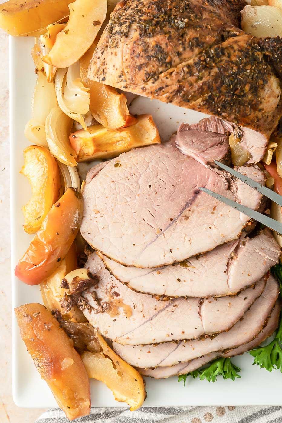 Boneless pork roast with apples and onions