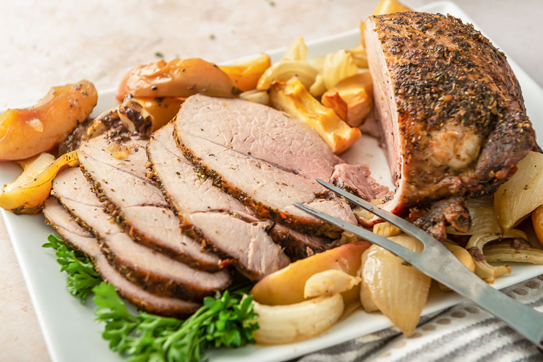 Pork roast cut into slices