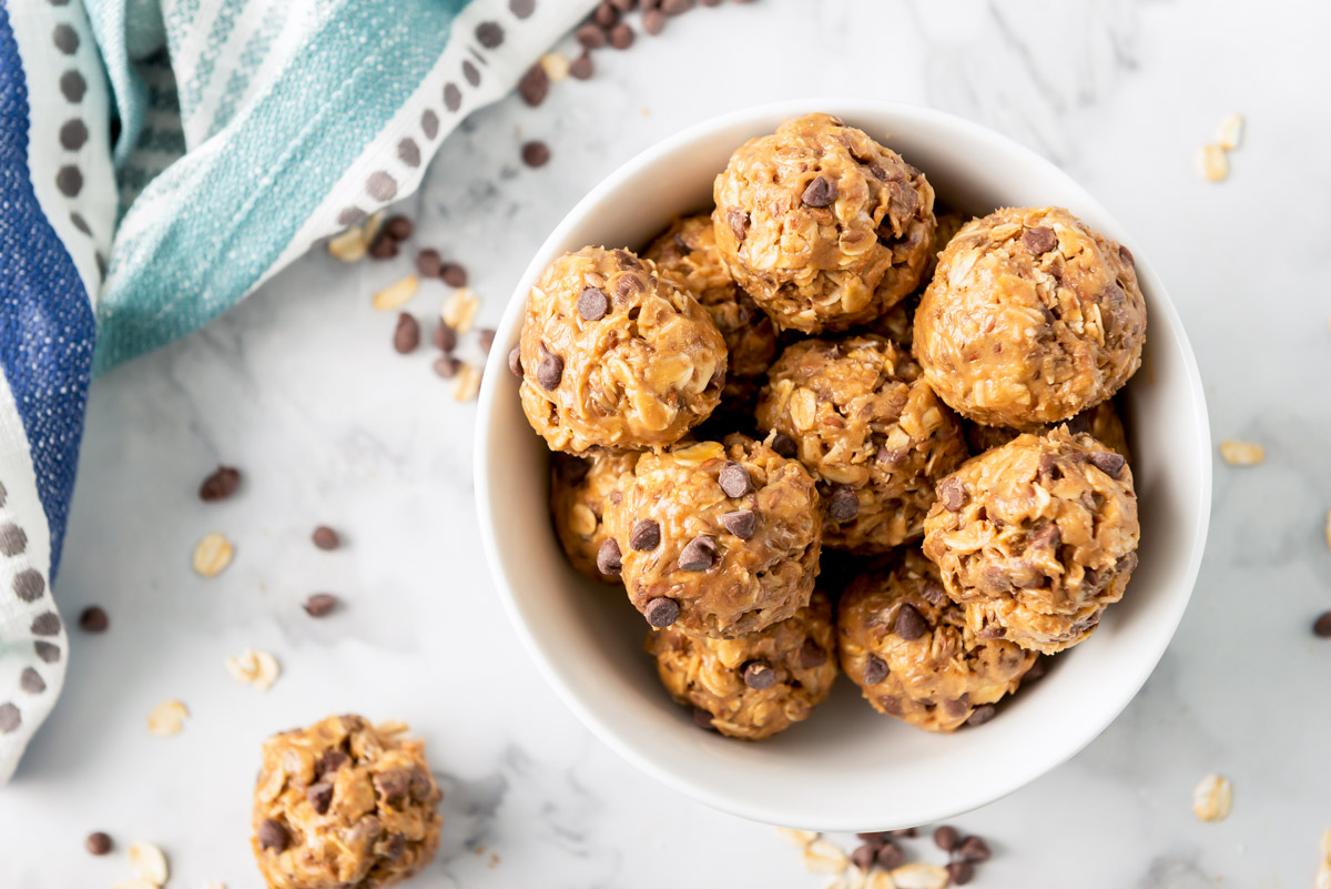 Protein balls in a white bowl