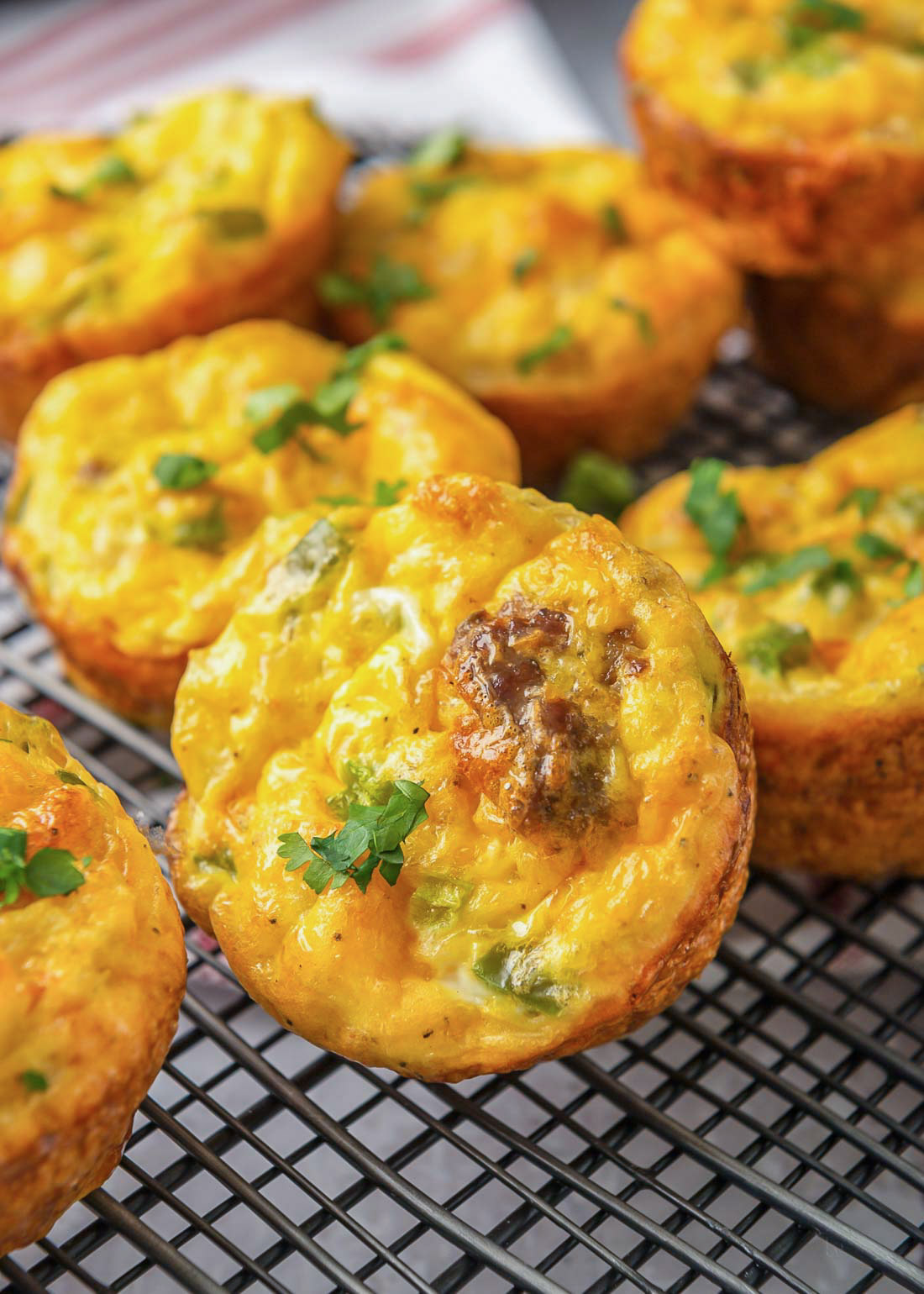 Egg muffins on a cooling rack