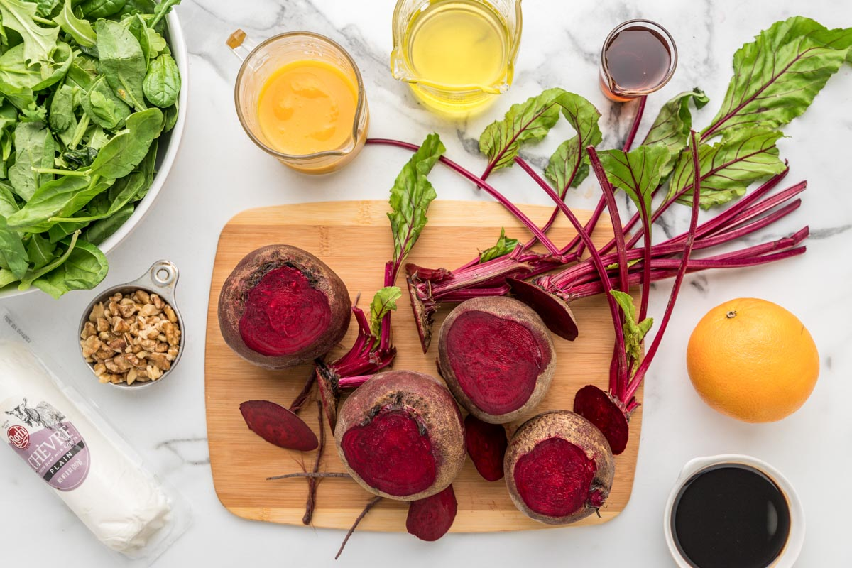 Cutting fresh beets to prepare them for beet salad
